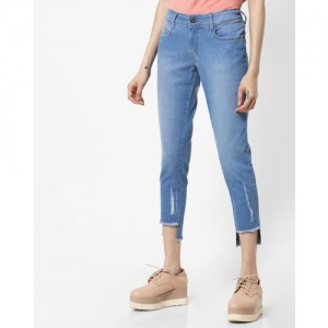 Pepe Jeans Cropped Skinny Fit Jeans with Frayed Hem