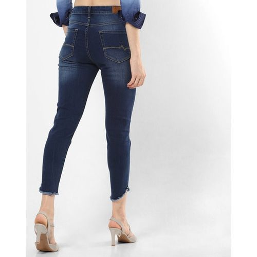 AERO JEANS WOMENS Cropped High-Rise Mid-Wash Skinny Jeans
