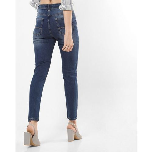AERO JEANS WOMENS High-Rise Ankle-Length Skinny Jeans with Placement Embroidery