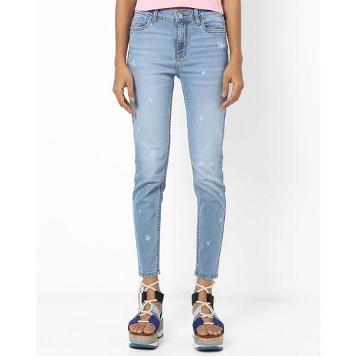 AERO JEANS WOMENS Mid-Wash Star Print Skinny Fit Jeans