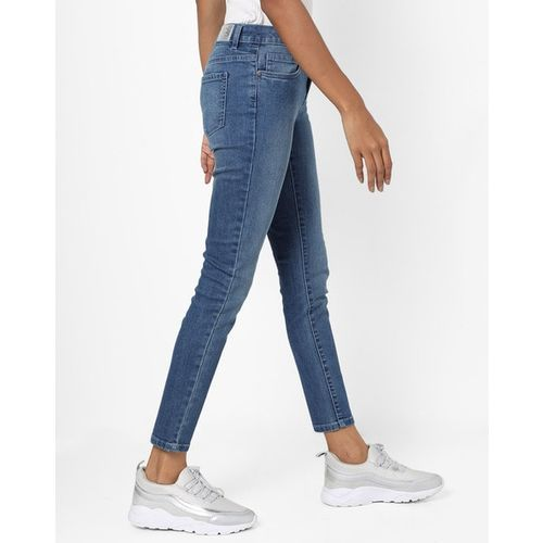 DNMX Washed Skinny Mid-Rise Jeans