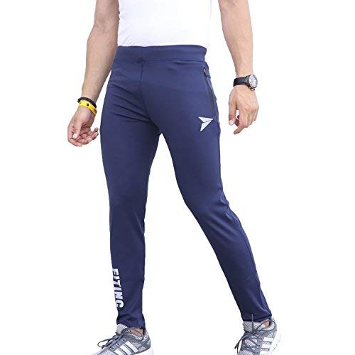 Fitinc Navy Blue Polyester Solid Side Zipper Trackpant
