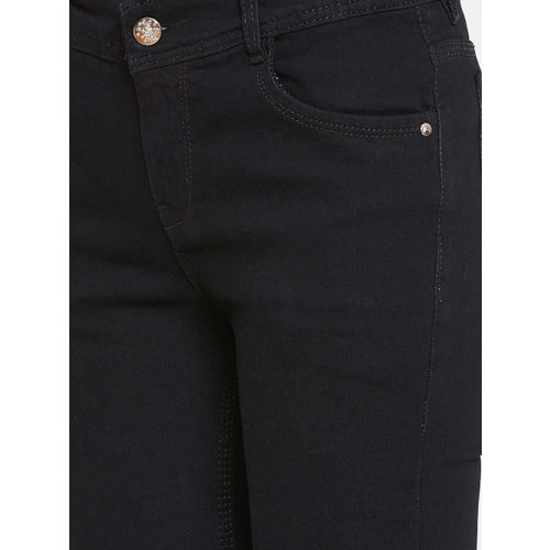 CHROME & CORAL Women Black Slim Fit Mid-Rise Slash Knee Stretchable Jeans