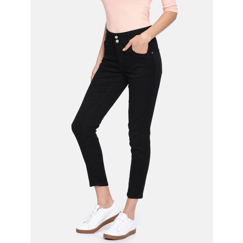 Kraus Jeans Women Black Skinny Fit High-Rise Clean Look Cropped Jeans