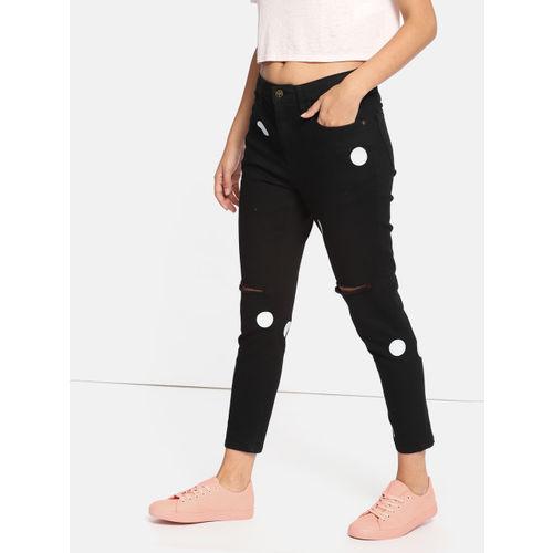 Kook N Keech Women Black Skinny Fit Mid-Rise Slash Knee Printed Stretchable Cropped Jeans