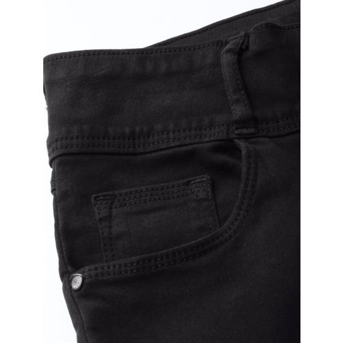Kraus Jeans Women Black Skinny Fit High-Rise Clean Look Stretchable Cropped Jeans