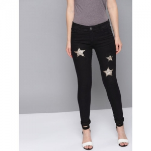 NUSH Women Black Regular Fit Mid-Rise Clean Look Embellished Stretchable Jeans