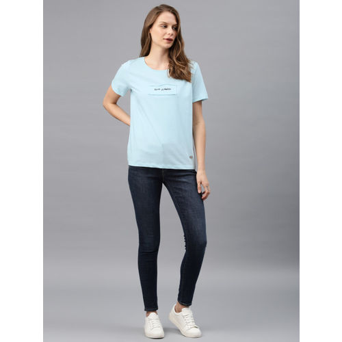 French Connection Women Blue Printed Round Neck T-shirt