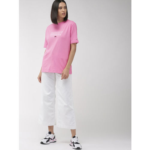 Tommy Hilfiger Women Pink Solid Loose Round Neck Longline T-shirt