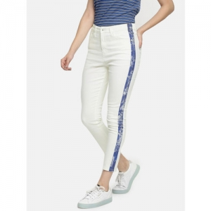 Pepe Jeans Women White Skinny Fit High-Rise Clean Look Stretchable Cropped Jeans