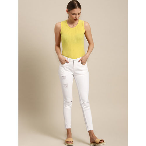 ether Women White Skinny Fit Mid-Rise Mildly Distressed Stretchable Jeans