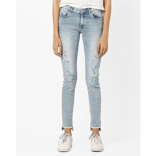 U.S. Polo Assn. Mid-Rise Washed Skinny Fit Jeans with Frayed Hems