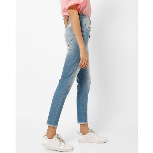 U.S. Polo Assn. Mid Rise Washed Jeans with Frayed Hems