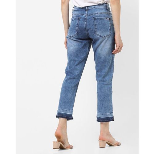 PROJECT EVE WESTERN WEAR Distressed Mid-Rise Washed Jeans