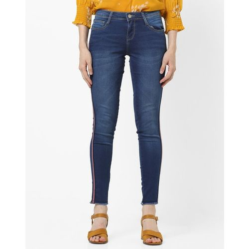 KRAUS Mid-Rise Skinny Jeans with Contrast Stripes