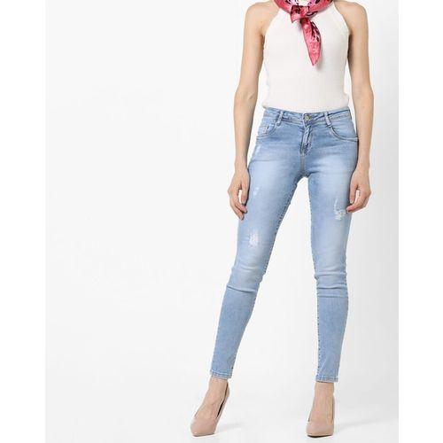 KRAUS Mid-Rise Skinny Distress Jeans