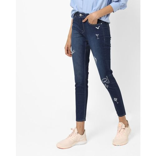 Flying Machine Womens Mid-Rise Washed Cotton Jeans
