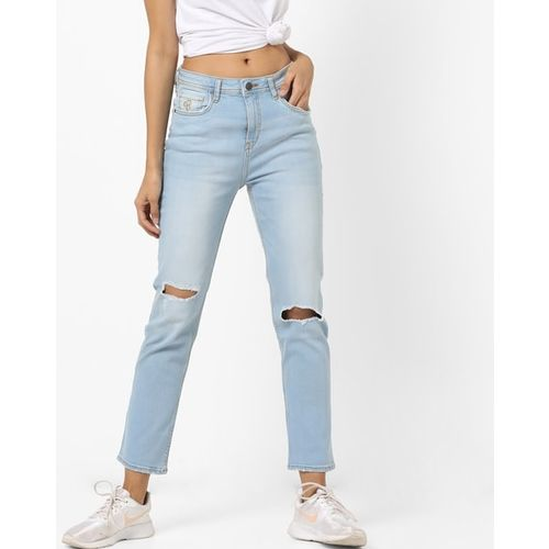Flying Machine Womens Mid-Rise Distressed Washed Jeans
