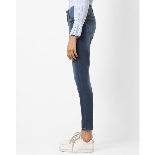 DNMX Mid-Rise Skinny Fit Light Distress Washed Jeans