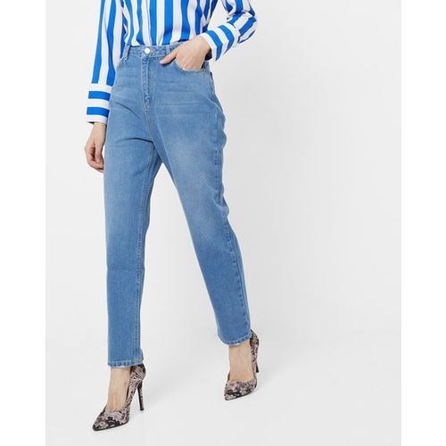 TRENDYOL High-Rise Washed Straight Fit Jeans