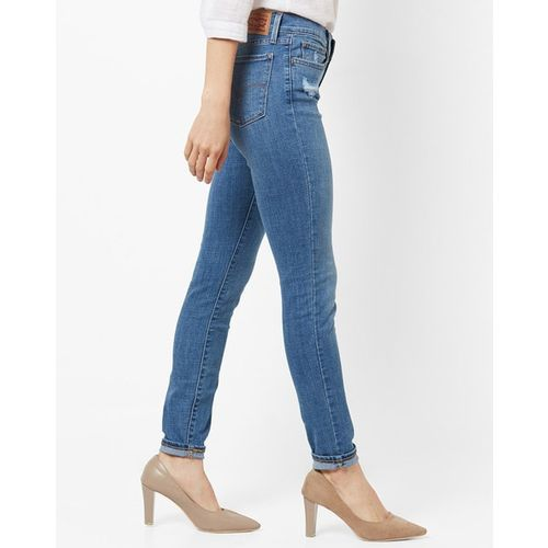 LEVIS Washed Mid-Rise Super Skinny Jeans with Distress