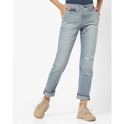 LEVIS Washed Mid-Rise Skinny Jeans with Distress