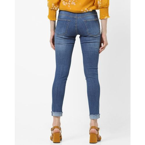 KRAUS Mid-Rise Skinny Jeans with Frayed Hems