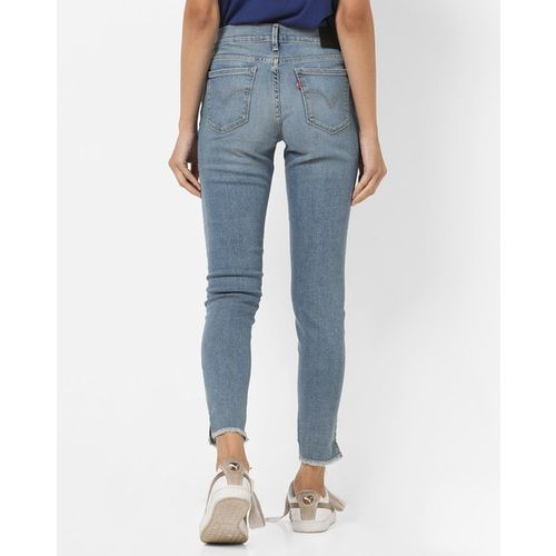 LEVIS Mid-Rise Super Skinny Jeans with Frayed Hems