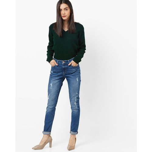 LEVIS Washed Mid-Rise Jeans with Distress