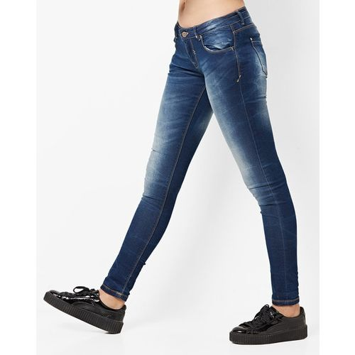 ALCOTT Lightly Washed Mid-Rise Slim Fit Jeans