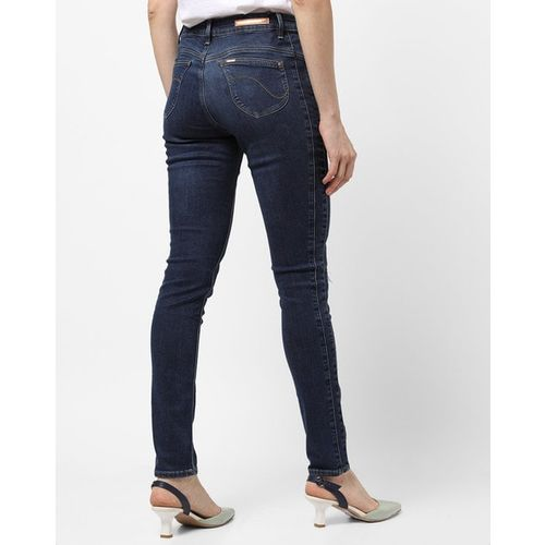 Lee Lightly Washed & Distressed Mid-Rise Skinny Jenas
