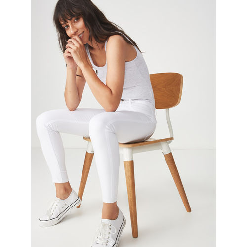 COTTON ON Women White Super Skinny Fit Mid-Rise Clean Look Jeans