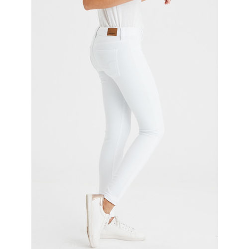 AMERICAN EAGLE OUTFITTERS Women White Regular Fit Mid-Rise Stretchable Jeans