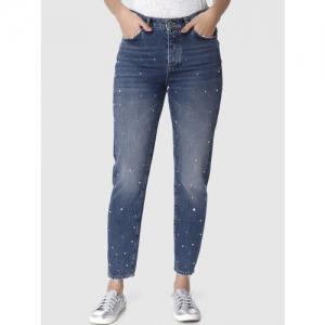 Vero Moda Women Blue Boyfriend Fit High-Rise Cropped Low Distress Jeans