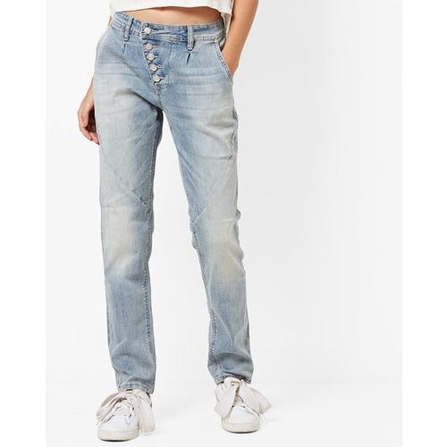ALCOTT Mid-Rise Washed Pleated Slim Fit Jeans