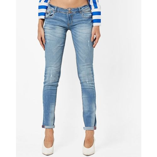 ALCOTT Mid-Rise Washed Slim Fit Jeans with Distressing