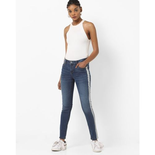 DNMX Mid-Rise Slim Fit Jeans with Contrast Taping