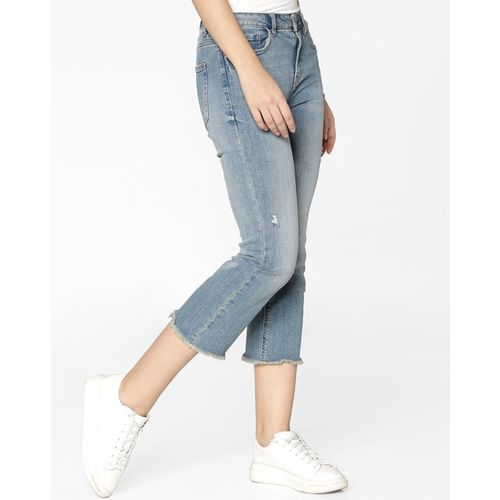 ONLY Mildly Washed Straight Jeans with Frayed Hems