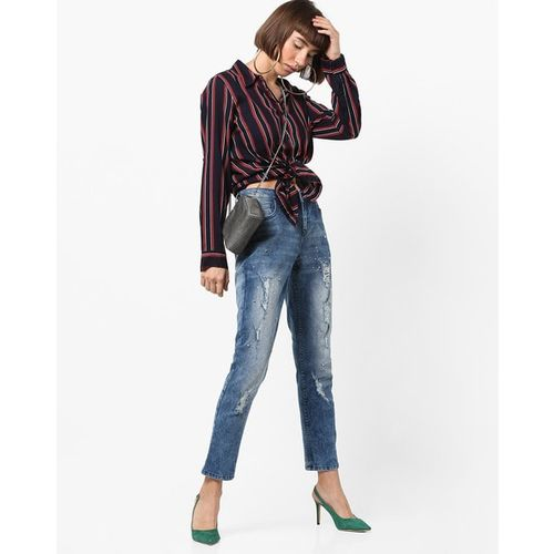 PROJECT EVE WESTERN WEAR Mid-Rise Slim Distressed Jeans