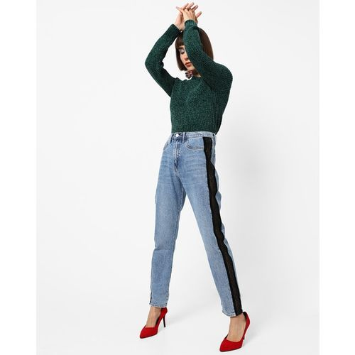 TALLY WEiJL Mid-Wash Skinny Jeans with Side Lace Inserts