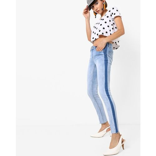 TALLY WEiJL Mid-Wash Slim Fit Jeans with Raw-Edge Hems