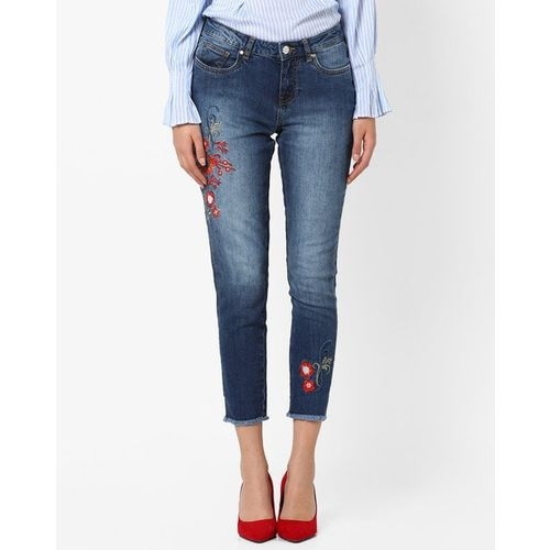 DNMX Mid-Rise Mid-Wash Jeans with Floral Embroidery