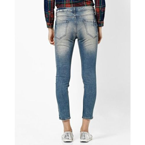 Project Eve WW Denim Mildly Washed Distressed Mid-Rise Cropped Jeans