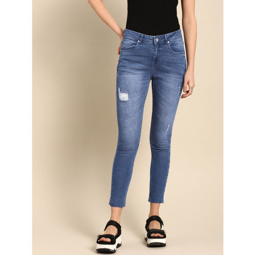 ether Women Blue Skinny Fit Mid-Rise Mildly Distressed Stretchable Jeans