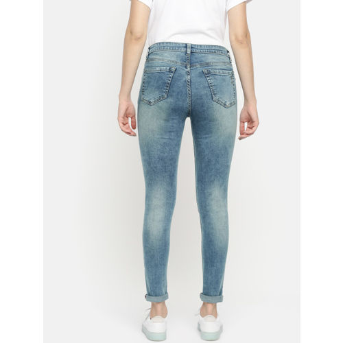 French Connection Women Blue Skinny Fit Mid-Rise Low Distress Stretchable Jeans