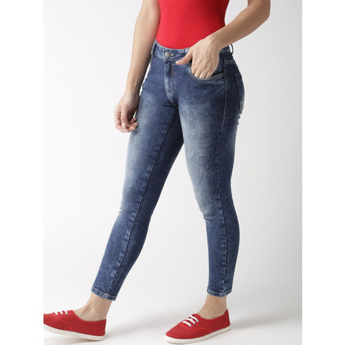Mast & Harbour Women Blue Skinny Fit Mid-Rise Clean Look Cropped Stretchable Jeans