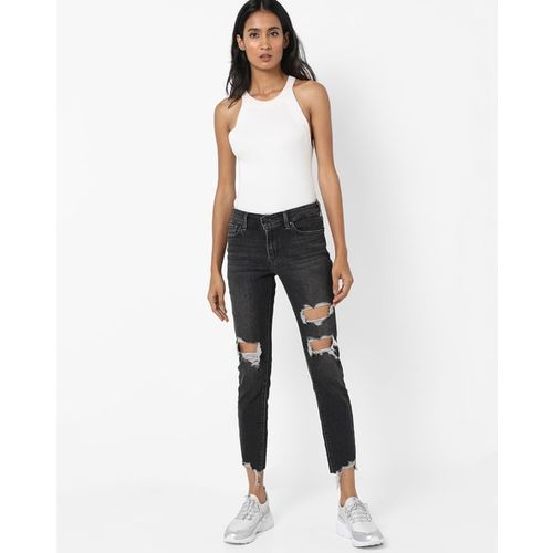 LEVIS Distressed Mid-Rise Skinny Jeans