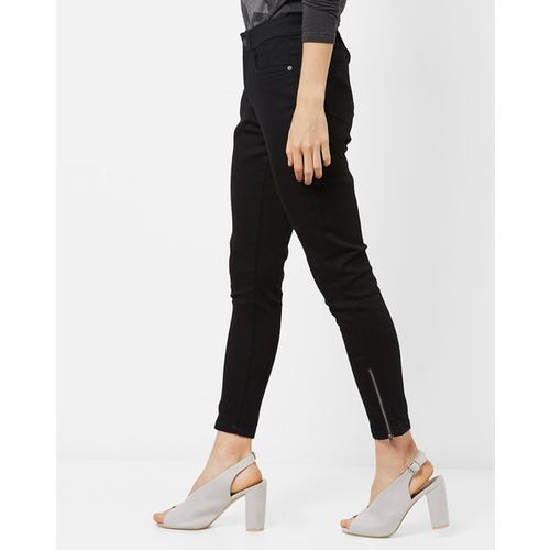 DNMX Mid-Rise Skinny Jeans with Zipper Hems