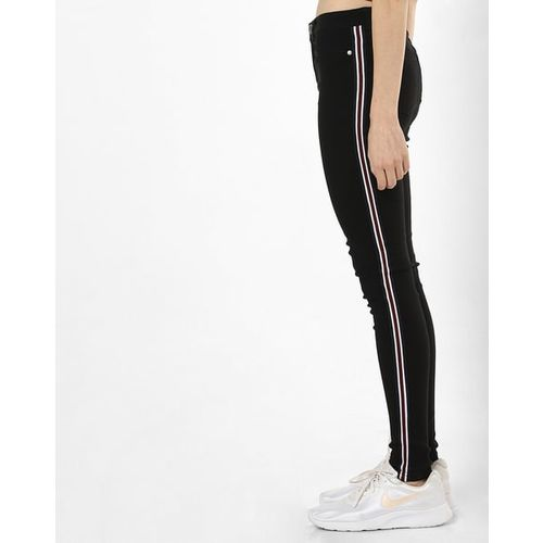 BRAVE SOUL Mid-Rise Slim Fit Jeans with Contrast Taping