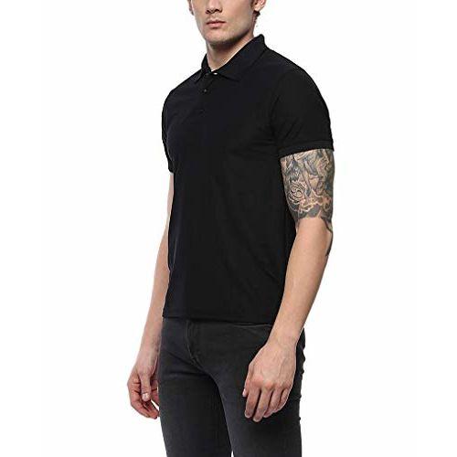 ShopMantra Men's Causal Polyster Dri-Fit Collar Tee Shirt - Black